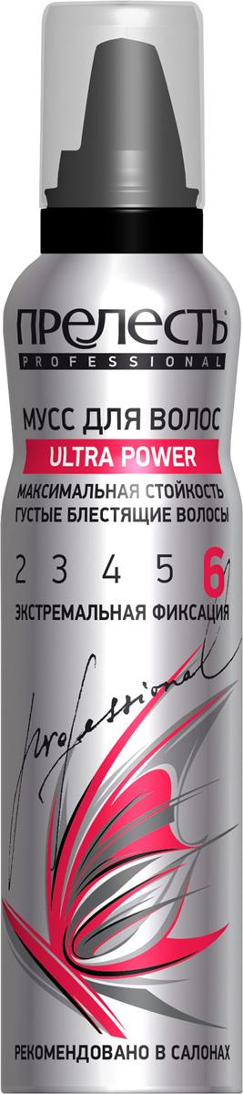 Прелесть Professional Мусс для волос Ultra Power экстремальной фиксации, 160 млУТ000053629Прелесть Professional Ultra Power обеспечивает экстремальную фиксацию на 24 часа. Подходит для волос азиатского типа и создания сложных причесок. Описание мусса для волос Эффективно и надежно фиксирует и защищает укладку даже в условиях повышенной влажности. Укрепляет и предотвращает ломкость волос. Придает волосам блеск и дополнительный объем. Быстро высыхает, не склеивает волосы. Снимает статическое электричество, легко удаляется расческой, не оставляет следов. Защищает от пересушивания и от UV-лучей. Обладает нейтральным ароматом.