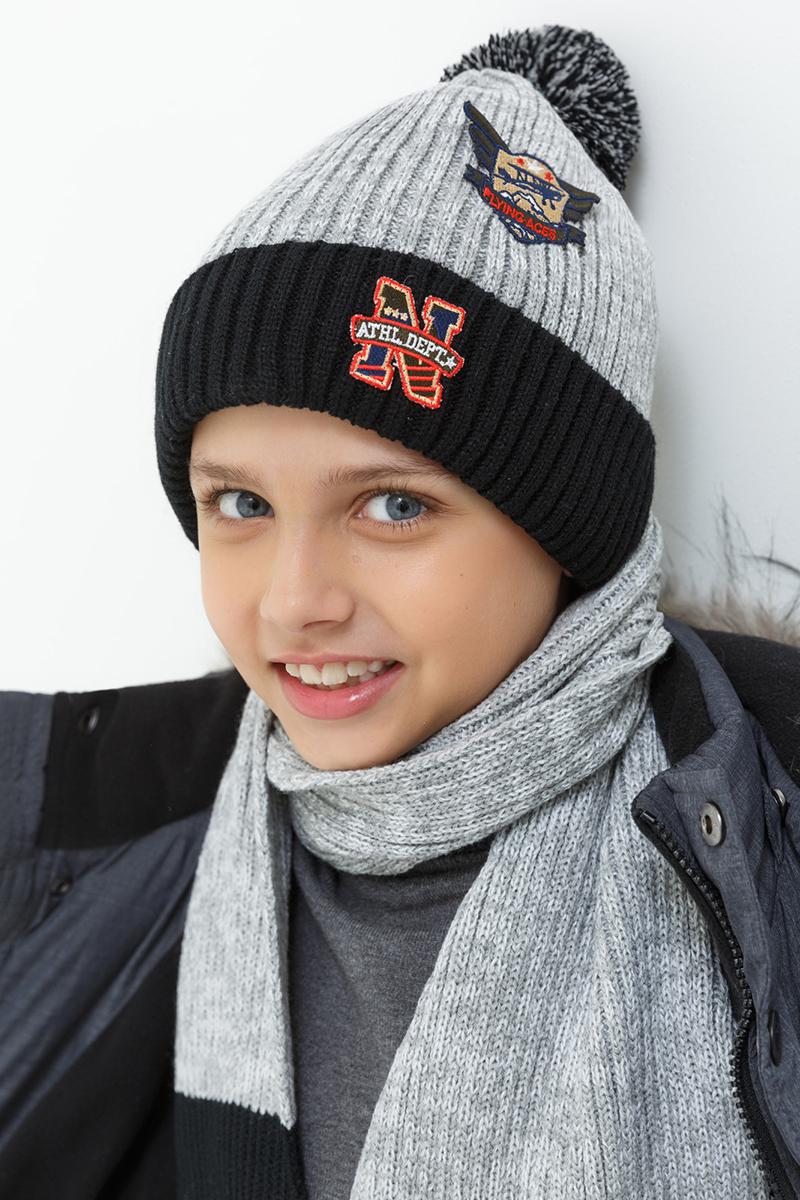 Шапка для мальчика Acoola Tino, цвет: серый, черный. 20136400034. Размер S (50/52)20136400034Детская шапка от Acoola выполнена из натуральной акриловой пряжи и декорирована помпоном. Такая шапка согреет вашего ребенка в холодное время года.