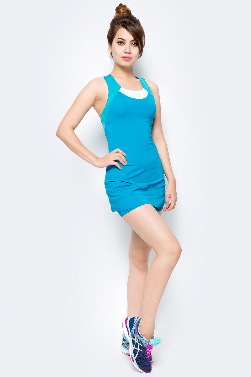 Платье женское Asics Athlete Y Dress, цвет: бирюзовый. 146479-8065. Размер XS (42)146479-8065Классика на десятилетия. Заявите о себе в этом теннисном платье от Asics. Достаточно открытая спинка придает особый комфорт по время игры. Материал дарит приятные ощущения на всем протяжении матча. Культовый силуэт и по-настоящему женственный стиль.