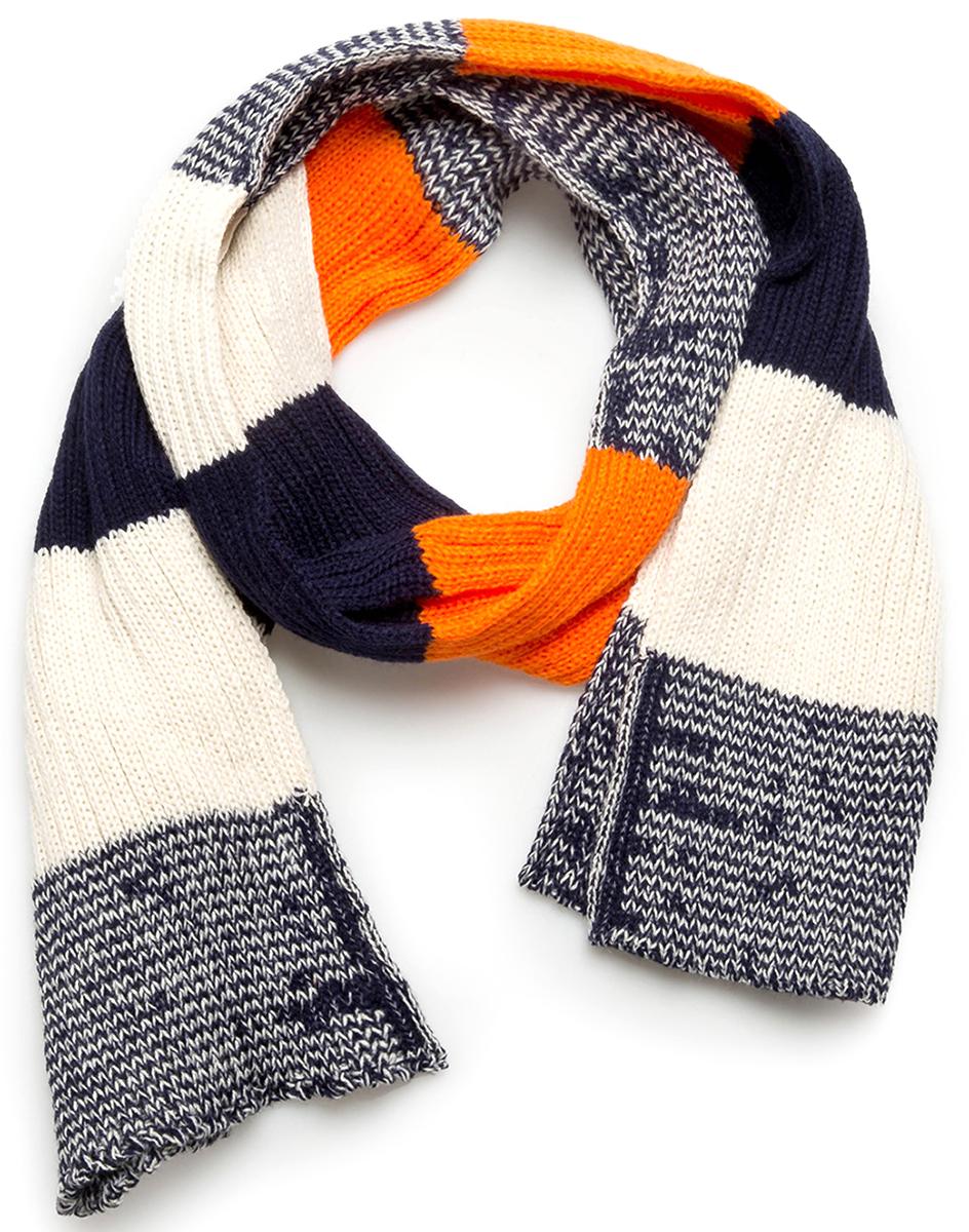 Шарф для мальчика Acoola Hold, цвет: белый, темно-синий, оранжевый. 20106440021. Размер универсальный20106440021Шарф для мальчика от Acoola выполнен из натурально акриловой пряжи. Такой стильный шарф согреет вашего ребенка и зимой и осенью.