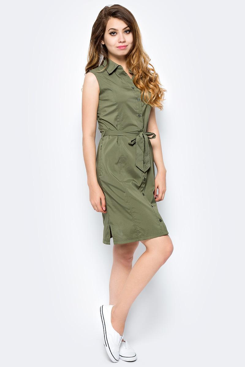 Платье Jack Wolfskin Sonora Dress, цвет: оливковый. 1503991-5033. Размер S (44)1503991-5033Платье Sonora Dress выполнено из 100% полиэстера. Ткань мягкая, легкая, слегка эластичная, приятная на ощупь, она обладает защитой от ультрафиолета (UPF 30+), отлично отводит влагу от тела и моментально сохнет при намокании. Модель без рукавов застегивается на пуговицы, имеет отложной воротник, пояс в комплекте и секретный карман. Модель выполнена в однотонном дизайне. Такое платье идеально подходит для путешествий в жаркие страны и повседневной носки в летний сезон.