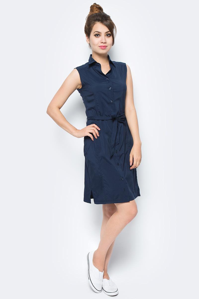 Платье Jack Wolfskin Sonora Dress, цвет: темно-синий. 1503991-1910. Размер L (48)1503991-1910Платье Sonora Dress выполнено из 100% полиэстера. Ткань мягкая, легкая, слегка эластичная, приятная на ощупь, она обладает защитой от ультрафиолета (UPF 30+), отлично отводит влагу от тела и моментально сохнет при намокании. Модель без рукавов застегивается на пуговицы, имеет отложной воротник, пояс в комплекте и секретный карман. Модель выполнена в однотонном дизайне. Такое платье идеально подходит для путешествий в жаркие страны и повседневной носки в летний сезон.