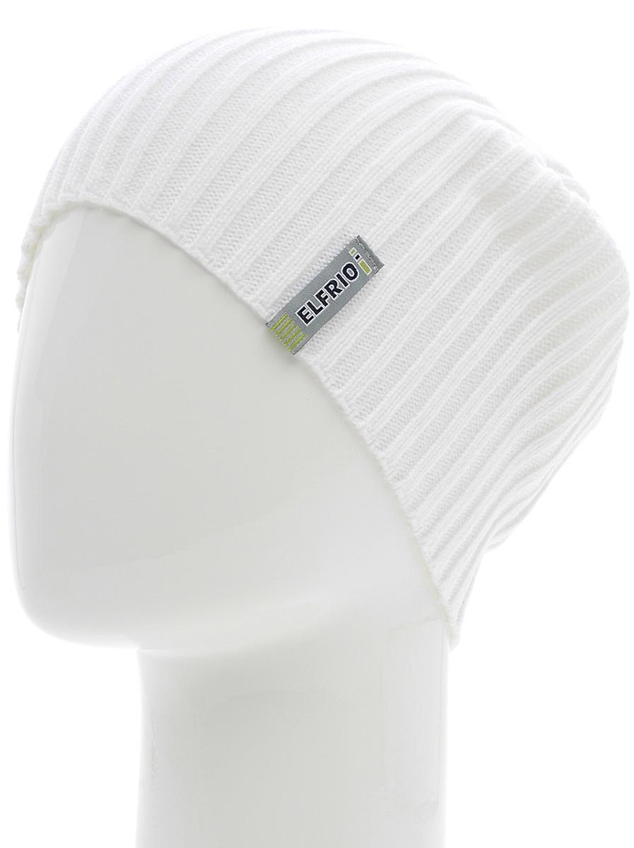 Шапка женская Elfrio, цвет: белый. Размер 56/58. RLH6597RLH6597Модная легкая молодежная шапка Elfrio выполнена из мягкого акрила. Шапку можно носить как колпак и как обычную шапку с отворотом. Модель дополнена жаккардовой петлей.