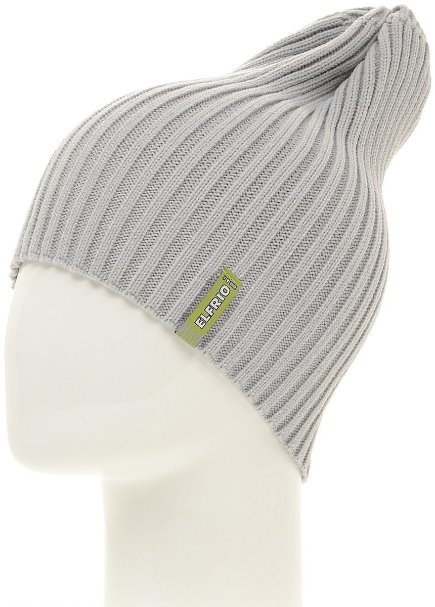 Шапка женская Elfrio, цвет: светло-серый. Размер 56/58. RLH6597RLH6597Модная легкая молодежная шапка Elfrio выполнена из мягкого акрила. Шапку можно носить как колпак и как обычную шапку с отворотом. Модель дополнена жаккардовой петлей.