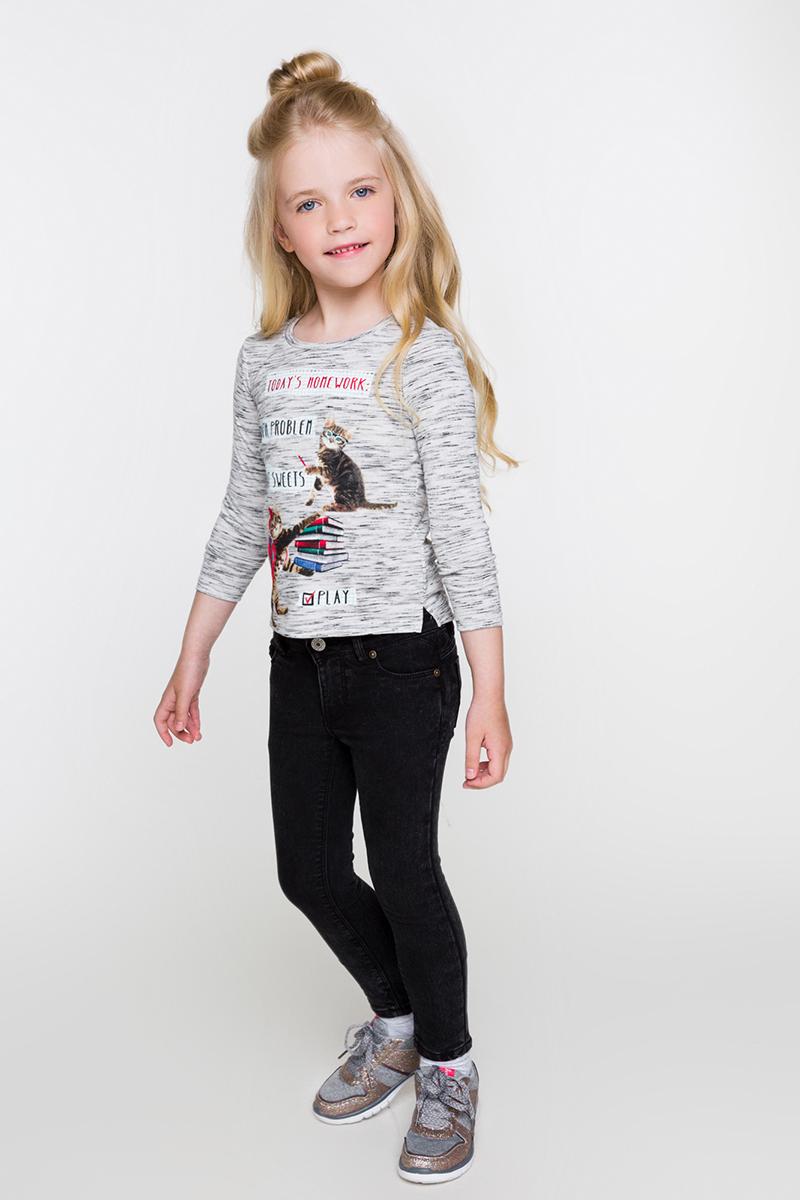 Футболка с длинным рукавом для девочки Acoola Dirham, цвет: серый. 20220100112. Размер 128 футболка с длинным рукавом для девочки acoola avon цвет светло розовый 20210100132 размер 164