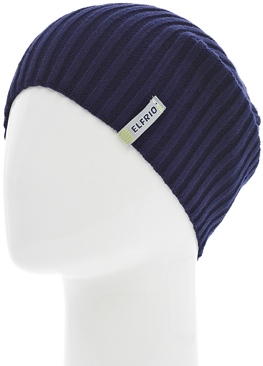 Шапка женская Elfrio, цвет: темно-синий. Размер 56/58. RLH6597RLH6597Модная легкая молодежная шапка Elfrio выполнена из мягкого акрила. Шапку можно носить как колпак и как обычную шапку с отворотом. Модель дополнена жаккардовой петлей.