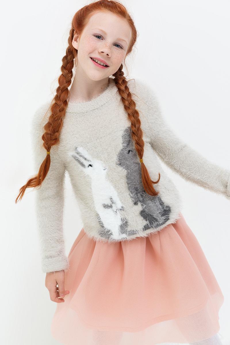 Джемпер для девочек Acoola Edwards, цвет: светло-серый. 20210310052. Размер 15220210310052