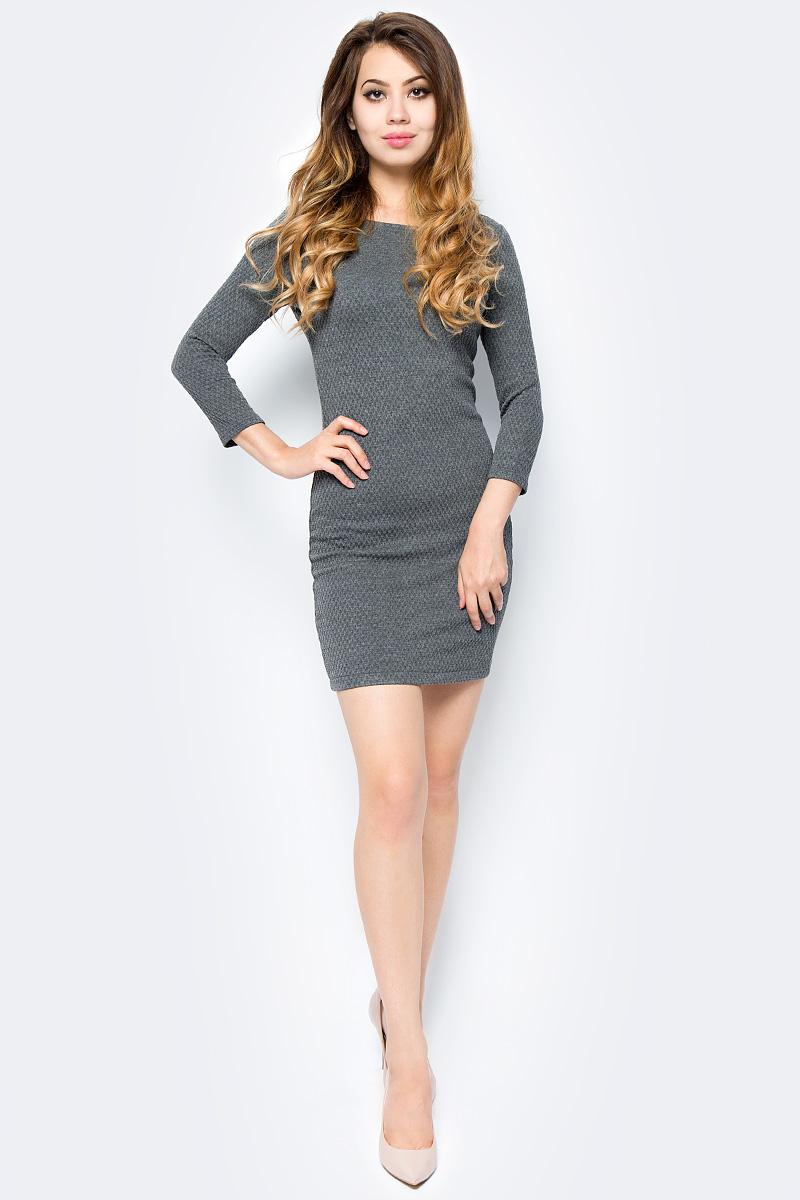 Платье Tom Tailor, цвет: серый. 5018803.09.71_2623. Размер M (46)5018803.09.71_2623Стильное платье Tom Tailor выполнено из высококачественного материала. Модель облегающего кроя с округлым вырезом горловины и рукавами 3/4 на спине застегивается на молнию.