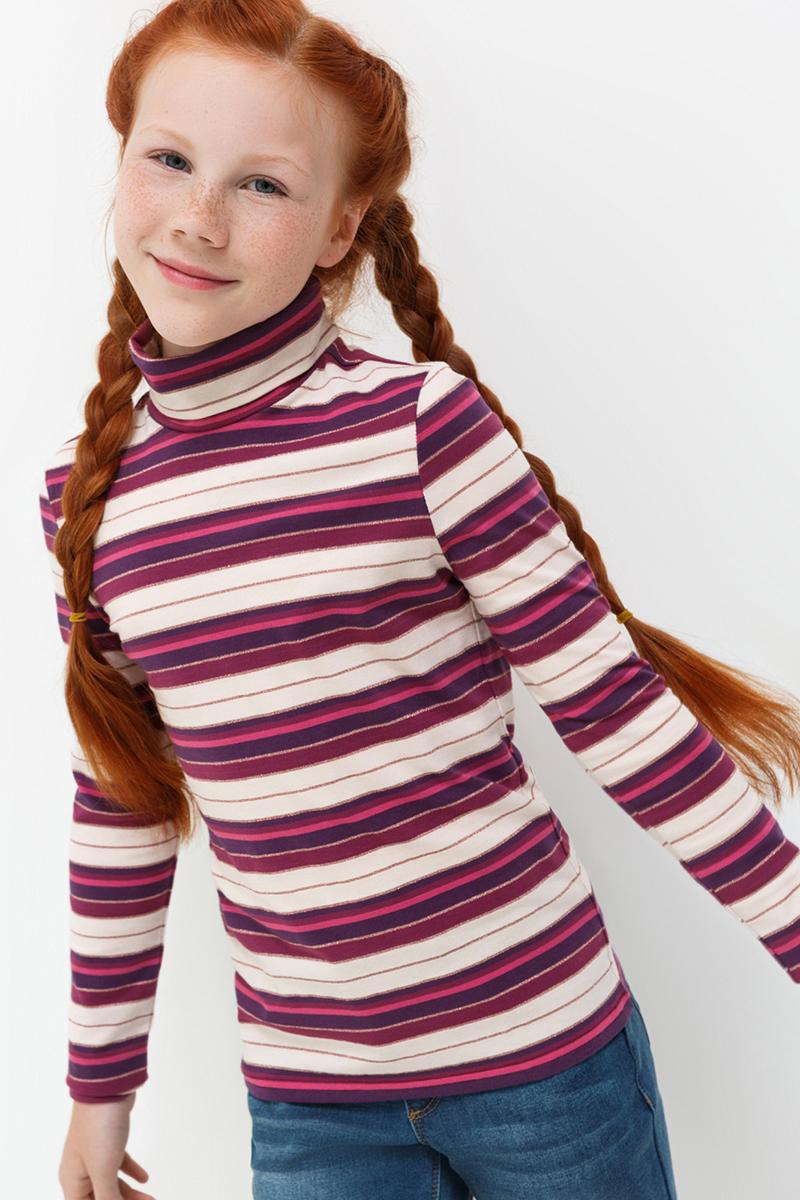 Водолазка для девочки Acoola Isadora, цвет: бордовый. 20220100119. Размер 9220210100135/20220100119Водолазка от Acoola выполнена из эластично трикотажа в яркую полоску. Модель с воротником-гольф и длинными рукавами.