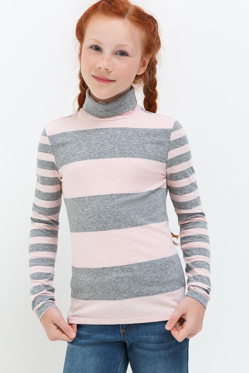 Водолазка для девочки Acoola Isadora, цвет: серый. 20220100119. Размер 12820210100135/20220100119Водолазка от Acoola выполнена из эластично трикотажа в яркую полоску. Модель с воротником-гольф и длинными рукавами.