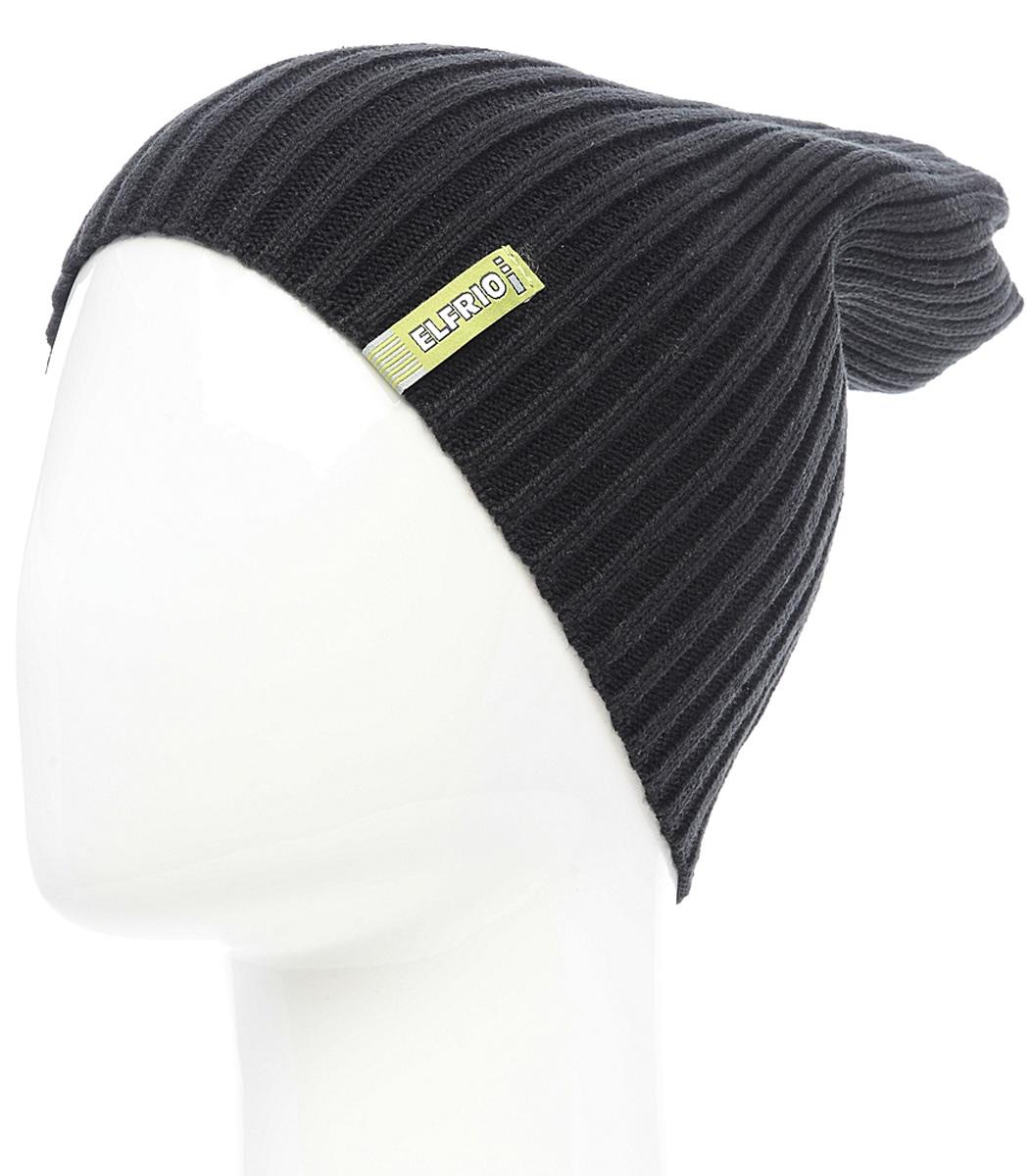 Шапка женская Elfrio, цвет: черный. Размер 56/58. RLH6597RLH6597Модная легкая молодежная шапка Elfrio выполнена из мягкого акрила. Шапку можно носить как колпак и как обычную шапку с отворотом. Модель дополнена жаккардовой петлей.