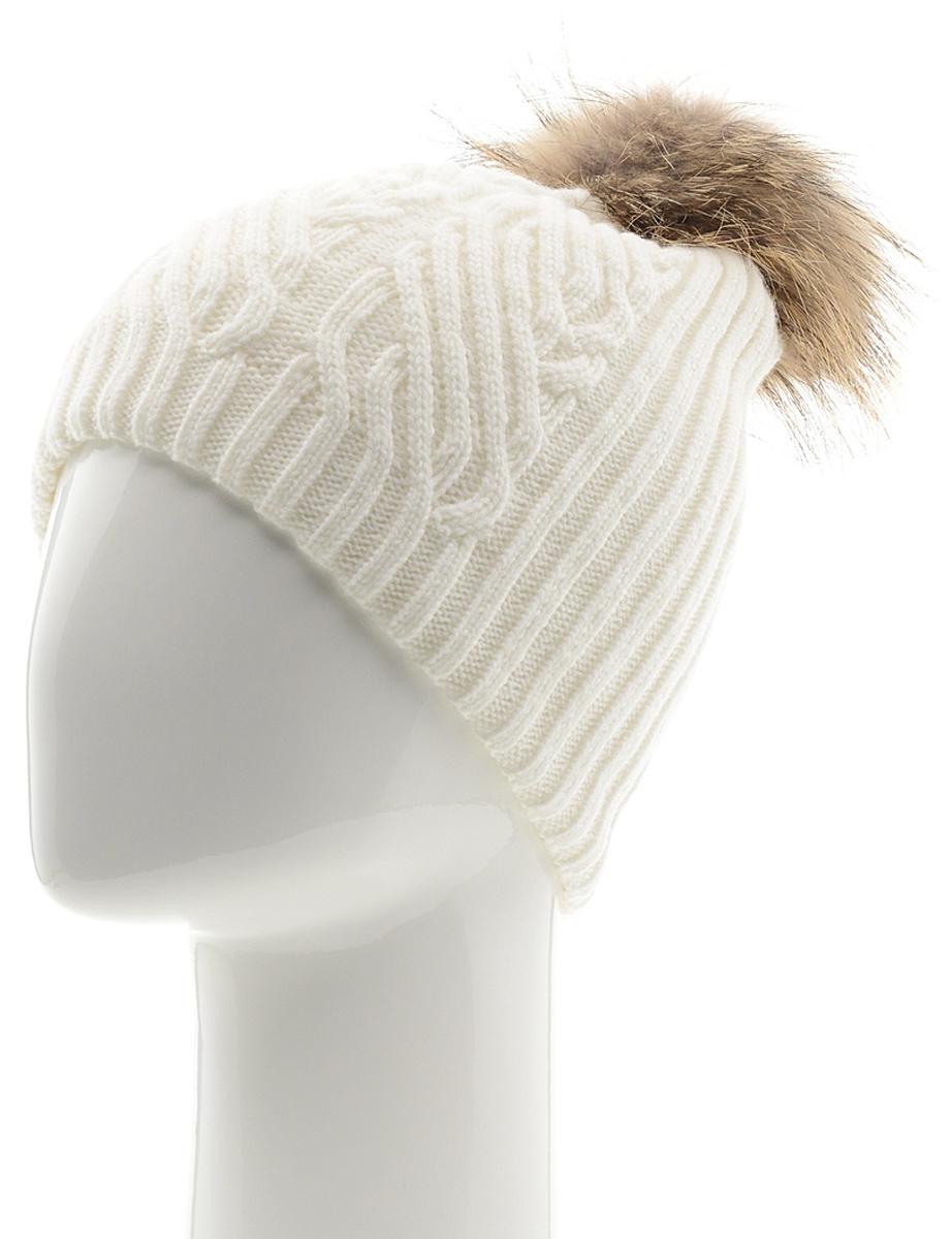 Шапка женская Marhatter, цвет: белый. MLH6882/3. Размер 56/58MLH6882/3Стильная шапка с помпоном добавит уникальность вашему образу. Данная модель мягкая и комфортная на ощупь. Модель на полном флисе.