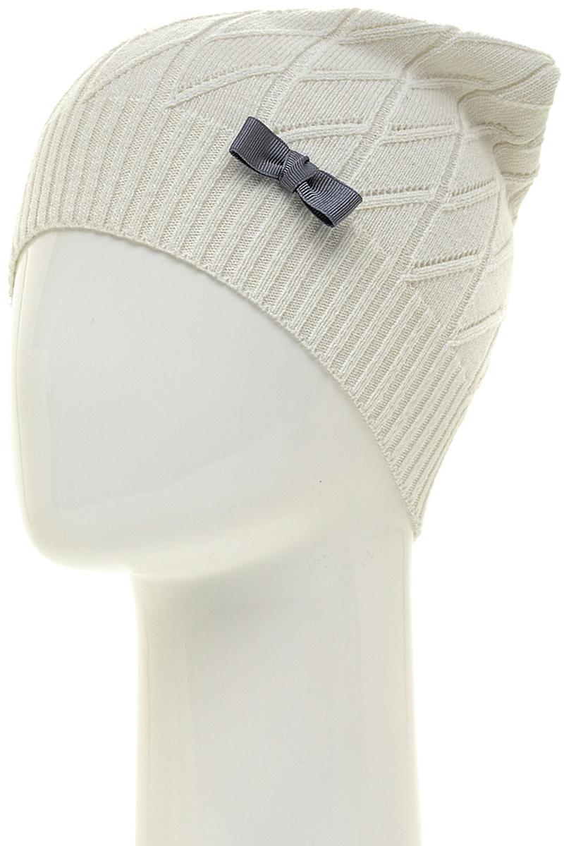 Шапка женская Marhatter, цвет: белый. MWH2. Размер 56/58MWH2Полушерстяная шапка фактурной вязки. Модель очень мягкая и эластичная. Изделие украшено объемным бантом, что добавит уникальность образу.