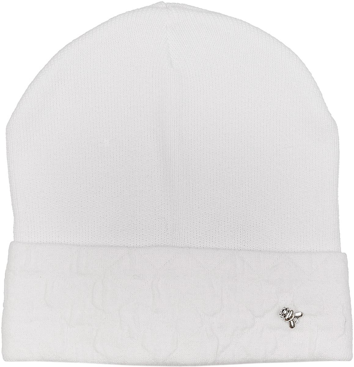 Шапка женская Marhatter, цвет: белый. MWH6595. Размер 56/58MWH6595Простая и стильная шапка из хлопка. На отвороте изделия ненавязчивый фактурный узор. Модель подойдет к любому гардеробу.