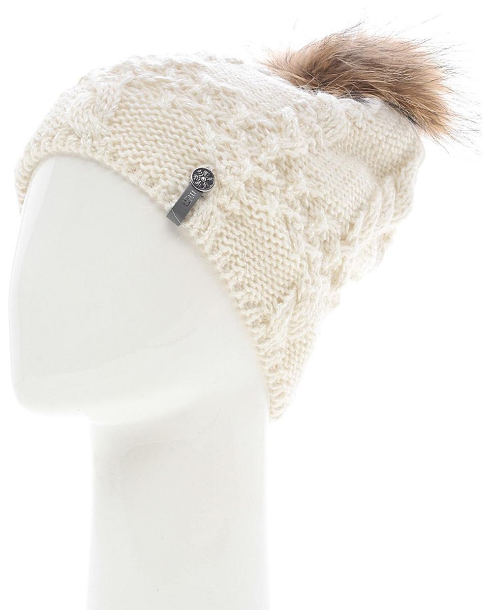 Шапка женская Marhatter, цвет: белый. MWH6759/2. Размер 56/58MWH6759/2Стильная шапка с помпоном добавит уникальность вашему образу. Данная модель мягкая и комфортная на ощупь. Модель на полном флисе.