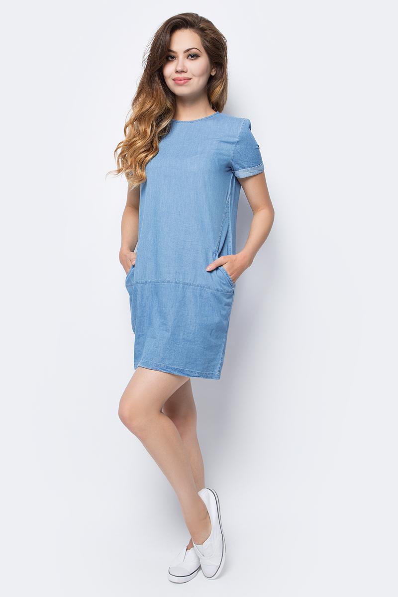 Платье Sela, цвет: голубой джинс. Djs-137/011-7161. Размер 46Djs-137/011-7161Лаконичное джинсовое платье Sela выполнено из натурального хлопка и дополнено двумя прорезными карманами. Модель прямого кроя с круглым вырезом горловины застегивается на короткую металлическую молнию на спинке. Мягкая ткань комфортна и приятна на ощупь. Платье подойдет для прогулок и дружеских встреч и станет отличным дополнением гардероба.