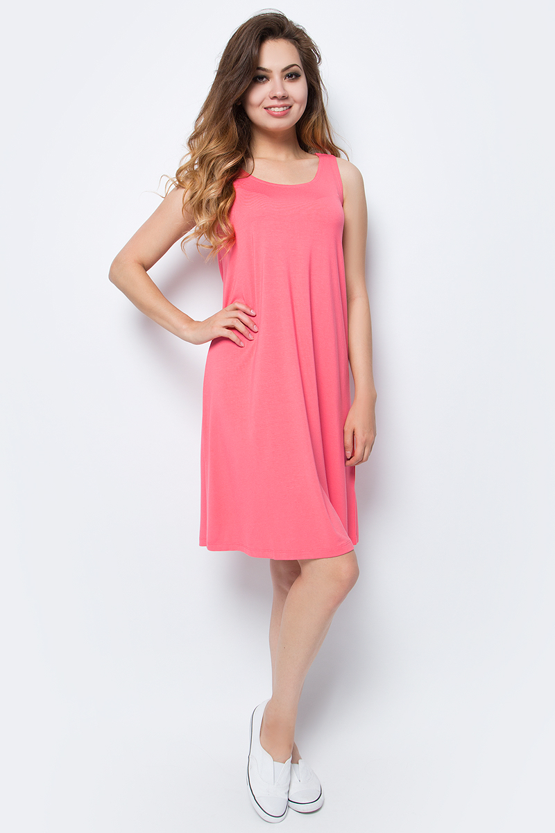 Платье Sela, цвет: ярко-розовый. Dksl-317/1153-7214. Размер XS (42)Dksl-317/1153-7214Оригинальное женское платье-сарафан Sela выполнено из качественного трикотажа. Модель А-силуэта с круглым вырезом горловины и оригинальной спинкой подойдет для прогулок и дружеских встреч и станет отличным дополнением гардероба в летний период. Мягкая ткань на основе вискозы и эластана комфортна и приятна на ощупь и хорошо тянется.