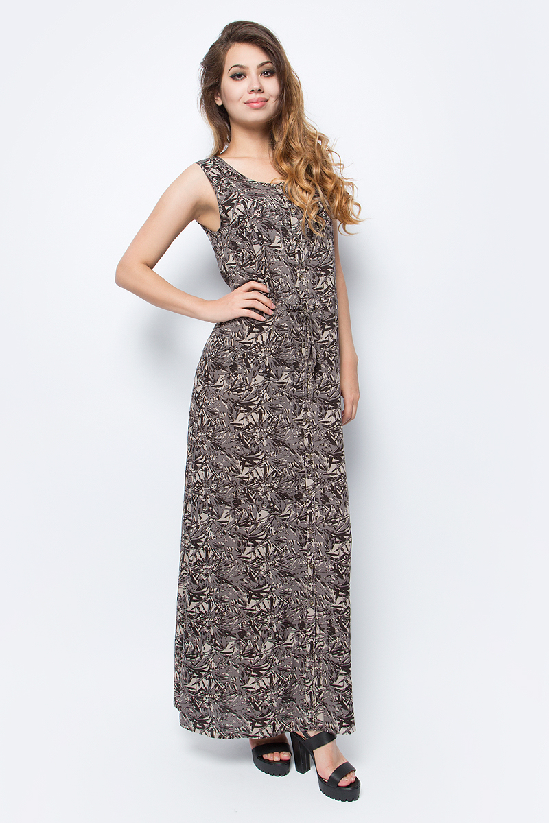 Платье Luhta, цвет: коричневый. 737340333LV. Размер 42 (50)737340333LVЖенское платье Luhta выполнена из высококачественного материала. Удлиненная модель без рукавов и с круглым вырезом горловины застегивается на пуговицы. Талия дополнена затягивающимся шнурком.