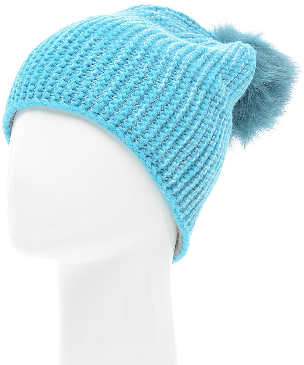 Шапка женская Marhatter, цвет: голубой. MLH6184/2. Размер 56/58MLH6184/2Стильная шапка с помпоном добавит уникальность вашему образу. Данная модель мягкая и комфортная на ощупь. Модель с отворотом на полном флисе.