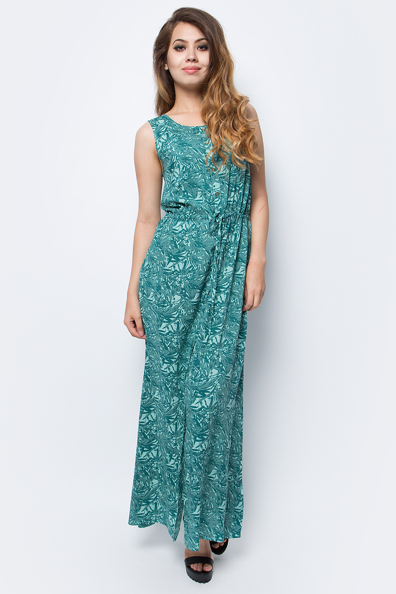 Платье Luhta, цвет: зеленый. 737340333LV. Размер 40 (48)737340333LVЖенское платье Luhta выполнена из высококачественного материала. Удлиненная модель без рукавов и с круглым вырезом горловины застегивается на пуговицы. Талия дополнена затягивающимся шнурком.