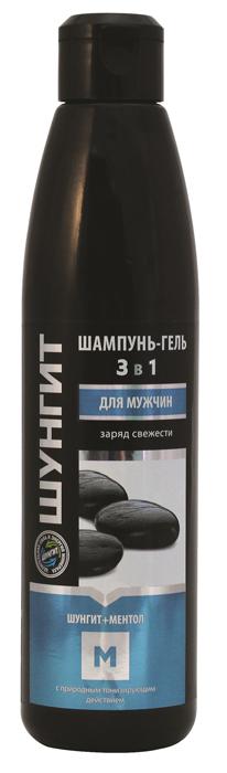 Шампунь-Гель 3 в 1 Природная аптека Шунгит для мужчин Заряд Свежести Шунгит+Ментол, 330 мл210433Шампунь-гель Шунгит+Ментол для ухода за телом и волосами для мужчин содержит комплекс натуральных активных компонентов. Они тонизируют кожу и волосы, помогают снизить избыточную жирность волос у корней, увлажняют кожу. Карельский шунгит оказывает активное противовоспалительное и антиоксидантное действие. Ментол освежает и тонизирует кожу, насыщает ее бодрящим ароматом, борется с избыточной жирностью волос — позволяет им дольше оставаться чистыми и блестящими. Масло кипариса нормализует работу сальных желез кожи головы, предупреждает появление перхоти, способствует укреплению волос. Лемонграсс эффективно увлажняет кожу, укрепляет корни волос. Экстракт листьев мяты успокаивает и смягчает кожу, повышает тонус и стимулирует рост волос.