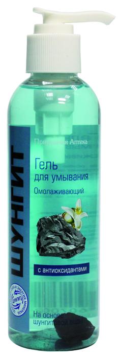 Гель для умывания Природная аптека ШУНГИТ Омолаживающий, 200 млZ4036Гель для умывания, изготовленный на основе шунгитовой воды освежает и глубоко очищает кожу лица и шеи, устраняет шелушение и покраснения кожи, оказывает мощное антиоксидантное действие, укрепляет мембраны клеток, защищая их от разрушительного действия свободных радикалов, препятствует преждевременному старению кожи. При регулярном использовании геля улучшается цвет лица, кожа становиться более гладкой и упругой. Внутри флакона — маленький камешек шунгита. Не выбрасывайте его. После того как средство закончится, достаньте, тщательно промойте, носите с собой в сумочке. Шунгит обладает мощной положительной энергией.