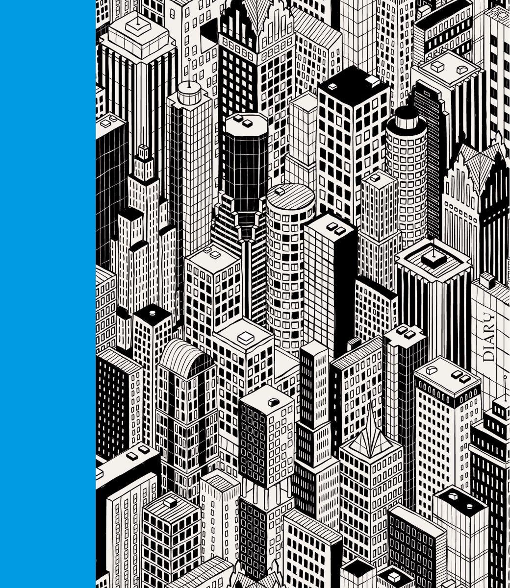 Канц-Эксмо Ежедневник Графика Геометрия мегаполиса недатированный 160 листов формат А5ЕЖИ18516001Ежедневник недатированный в интегральном переплете формата А5, 160 листов, матовая ламинация, форзацы - двухстороннее тонирование. Внутренний блок: бумага офсетная 70 г/м2, ляссе.