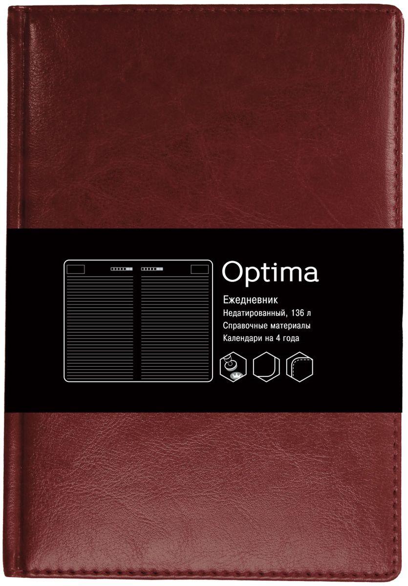 Канц-Эксмо Ежедневник Optima недатированный 136 листов цвет темно-коричневый формат А5ЕКО51813608Недатированный ежедневник Канц-Эксмо Optima формата А5 великолепно подойдет для записей и заметок.Ежедневник имеет сшитый внутренний блок из белой офсетной бумаги плотностью 60гр/м2 с закругленными углами без разметки. Обложка выполнена из высококачественной искусственной кожи, уплотненной поролоном, и дополнена цветными форзацами. Изделие дополнено справочными материалами и календарями на 4 года.