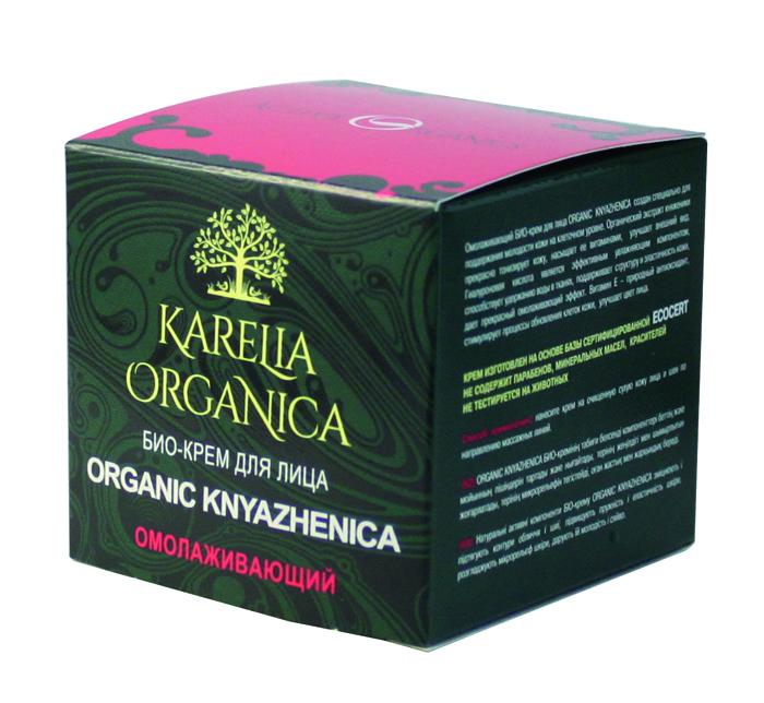 Karelia Organica Био-Крем для лица Organic KNYAZHENIKA Омолаживающий, 50 мл420108Омолаживающий био-крем для лица Organic Knyazhenica создан специально для поддержания молодости кожи на клеточном уровне. Органический экстракт княженики прекрасно тонизирует кожу, насыщает ее витаминами, улучшает внешний вид. Гиалуроновая кислота является самым эффективным увлажняющим компонентом, способствует удержанию воды в тканях, поддерживает структуру и эластичность кожи, дает прекрасный омолаживающий эффект. Витамин Е - мощный антиоксидант, стимулирует процессы обновления клеток кожи, улучшает цвет лица. Масло оливы, органическое масло Ши, масло виноградной косточки, масло Жожоба - питают и смягчают кожу, поддерживают высокий уровень увлажнения и тонус кожи. Экстракт бурой водоросли - насыщает кожу минеральными веществами и микроэлементами, липидами с полиненасыщенными жирными кислотами - для красоты, здоровья и хорошего тонуса кожи. Оказывает омолаживающий эффект на кожу, способствует восстановлению кожи после повреждений, улучшает внешний вид и структуру кожи. Витамин В3 (ниацин) - способствует высокому уровню увлажнения кожи, участвует в нормализации обмена веществ и процессе обновления кожи - кожа имеет здоровый и свежий. Крем изготовлен на основе базы сертифицированной ECOCERT. Не содержит парабенов, минеральных масел, синтетических красителей
