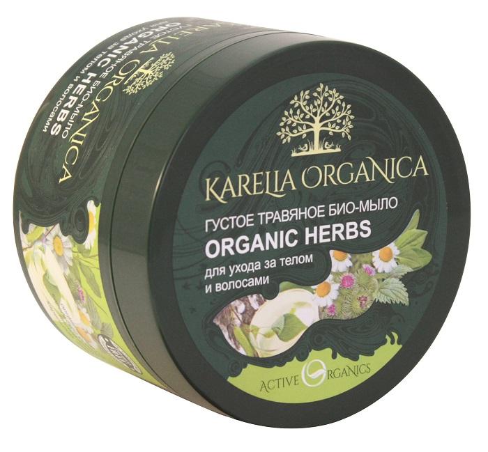 Karelia Organica Густое ТРАВяное био-мыло Organic HERBS, 500 г420701Густое травяное био-мыло Organic Herbs изготовлено на основе органического сока карельской березы и целебных настоев диких карельских трав. Органический сок карельской березы имеет богатый состав и обладает высокой биологической активностью. Это богатейший спектр минералов, витаминов и микроэлементов, помогающий позволяющий вернуть силу и блеск волосам, а кожу тела сделать свежей и упругой. Дикие карельские травы ромашка, подорожник, лапчатка, репейник, крапива, череда и душица, выросшие в экологически чистых лесах Карелии и наполненные живой энергией природы, оказывают противовоспалительное, регенерирующее и тонизирующее действие, укрепляют волосы, улучшают их рост.