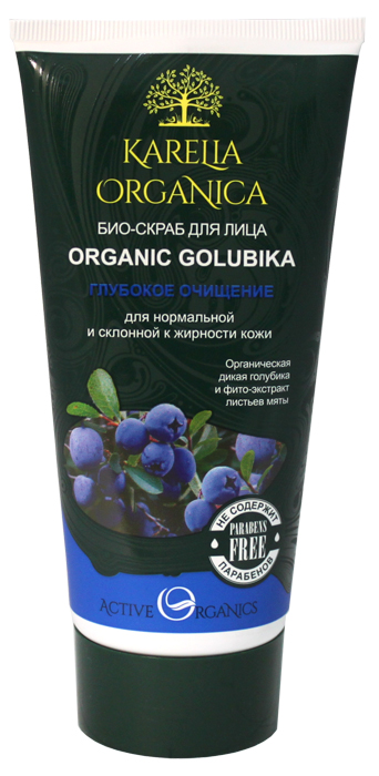Karelia Organica Био-Скраб для лица Organic GOLUBIKA Глубокое очищение, 180 мл421601Био-скраб для лица Organic Golubika обеспечивает глубокое очищение и сглаживает неровности кожи, дарит ощущение свежести и комфорта. Органический экстракт ягод дикой карельской голубики насыщает кожу витаминами, пектинами и натуральными AHA-кислотами, которые мягко отбеливают и очищают кожу. Фито-экстракт листьев мяты обладает антисептическими и антибактериальными свойствами, успокаивает воспаленную кожу, снимает раздражение, дарит свежесть. Комплекс трав (эхинацея, зверобой, лист брусники, лист черники, лист березы, шиповник, аир болотный) - насыщает природными витаминами и микроэлементами, способствует деликатному очищению кожи, успокаивают кожу и способствует снижению жирности кожи. Органические ягоды дикой голубики насыщают кожу витаминами, мягко отбеливают и очищают кожу. Фито-экстракт листьев мяты успокаивает раздраженную кожу, снимает воспаление, дарит ощущение свежести. Настой диких карельских трав обладает противовоспалительным, регенерирующим и тонизирующим действием на кожу. Органическое масло подсолнечника - питает и смягчает кожу.