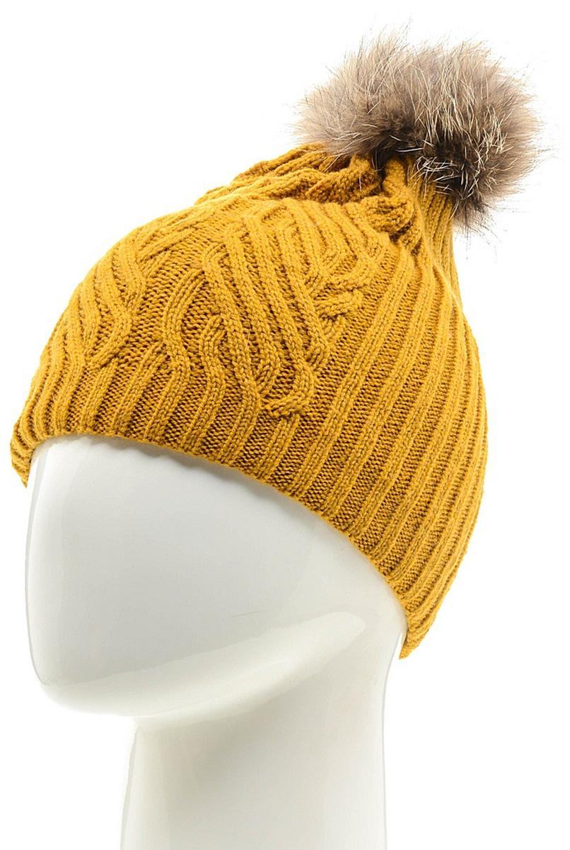 Шапка женская Marhatter, цвет: горчичный. MLH6882/3. Размер 56/58MLH6882/3Стильная шапка с помпоном добавит уникальность вашему образу. Данная модель мягкая и комфортная на ощупь. Модель на полном флисе.