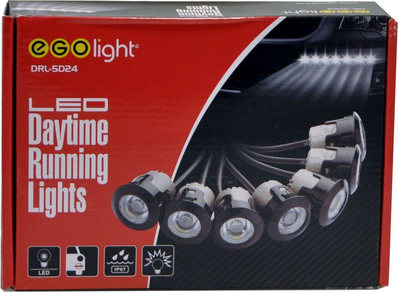 Дневные ходовые огни Egolight DRL-5D241600000110502Дневные ходовые огни Egolight DRL-5D24 состоят из двух модулей. Каждый имеет 7 световых элементов. Алюминиевый корпус выполнен с системой охлаждения, линза - из высокопрочного поликарбоната. Каждый элемент не зависим друг от друга. В комплекте также провода, реле и набор крепежных элементов. Размер одной лампы: D19,5х21,9 мм.