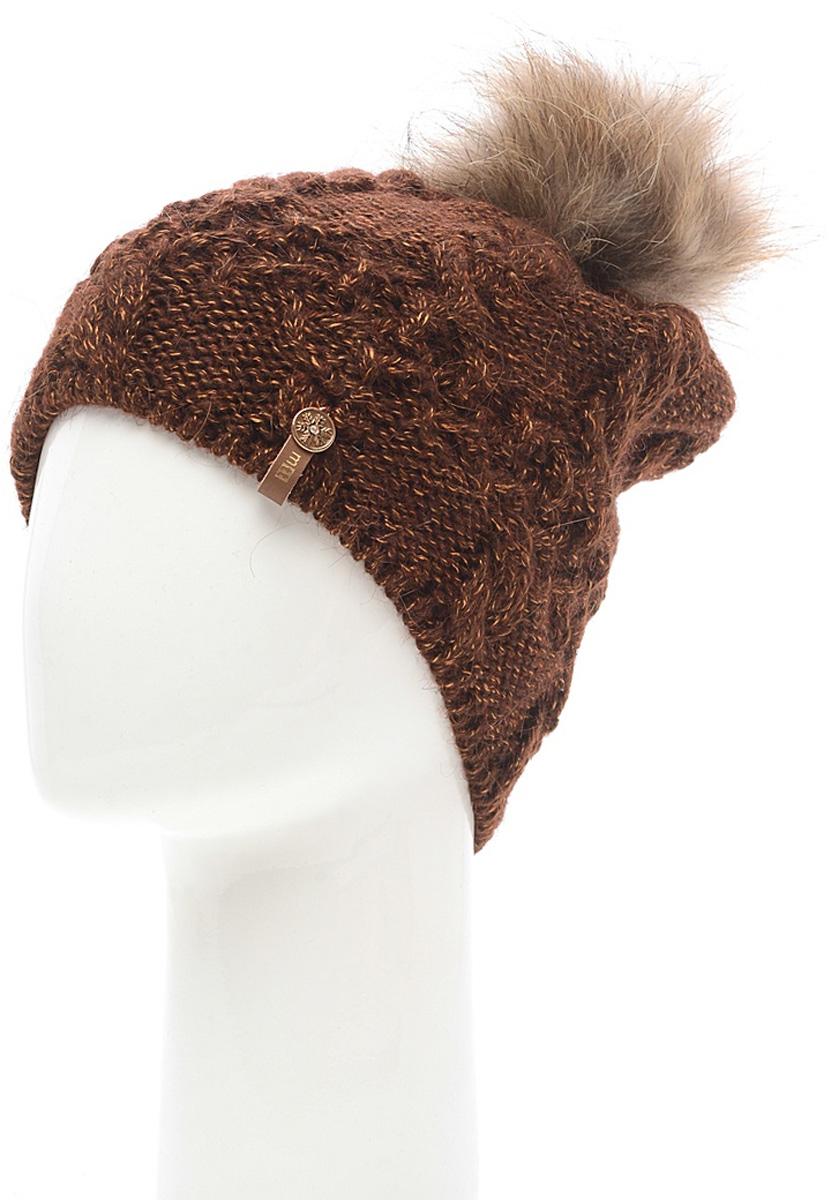 Шапка женская Marhatter, цвет: коричневый. MWH6759/2. Размер 56/58MWH6759/2Стильная шапка с помпоном добавит уникальность вашему образу. Данная модель мягкая и комфортная на ощупь. Модель на полном флисе.