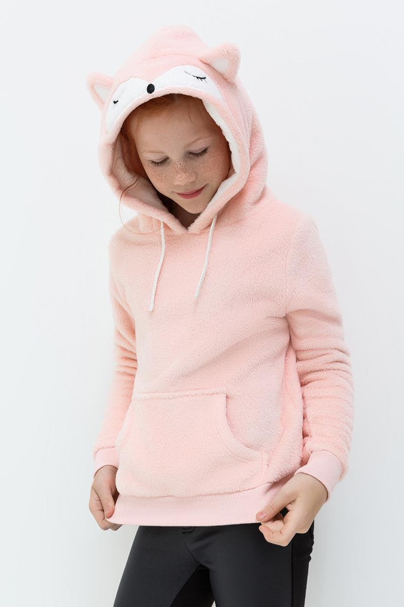 Куртка для девочки Acoola Anny, цвет: светло-розовый. 20210170047. Размер 14020210170047Куртка от Acoola выполнена из мягкого искусственного меха яркой расцветки, декорирована ушками и мордочкой лисички на капюшоне. Модель без застежек, с капюшоном на кулиске, одним карманом-кенгуру, эластичными трикотажными манжетами и поясом.