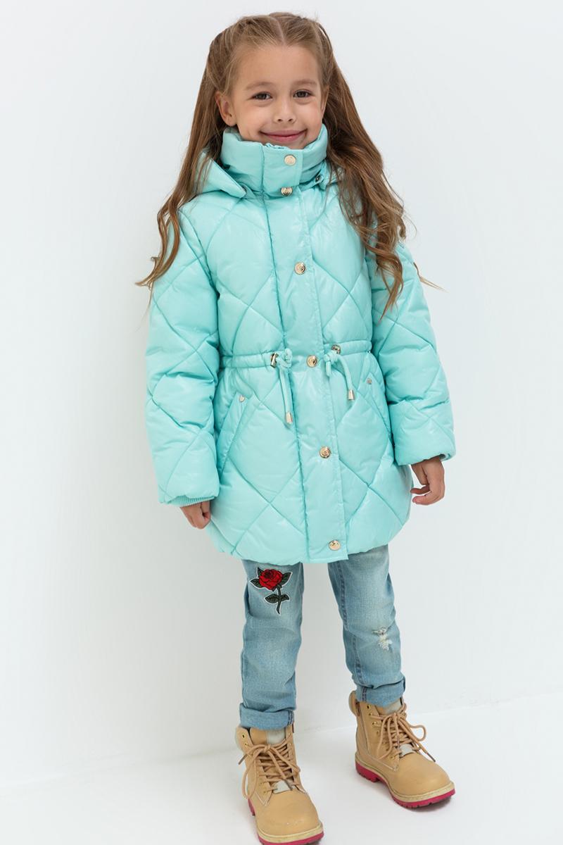 Пальто для девочек Acoola Pictor, цвет: светло-бирюзовый. 20220610017. Размер 11620220610017