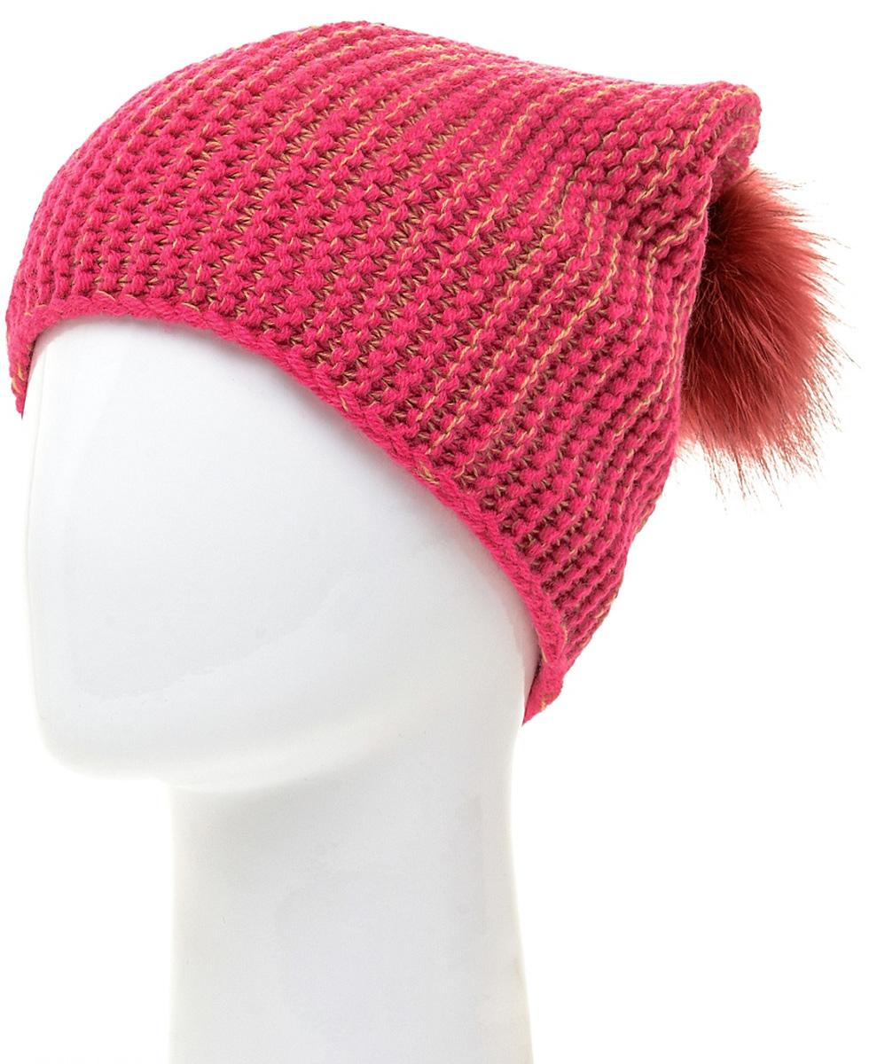 Шапка женская Marhatter, цвет: темно-розовый. MLH6184/2. Размер 56/58MLH6184/2Стильная шапка с помпоном добавит уникальность вашему образу. Данная модель мягкая и комфортная на ощупь. Модель с отворотом на полном флисе.