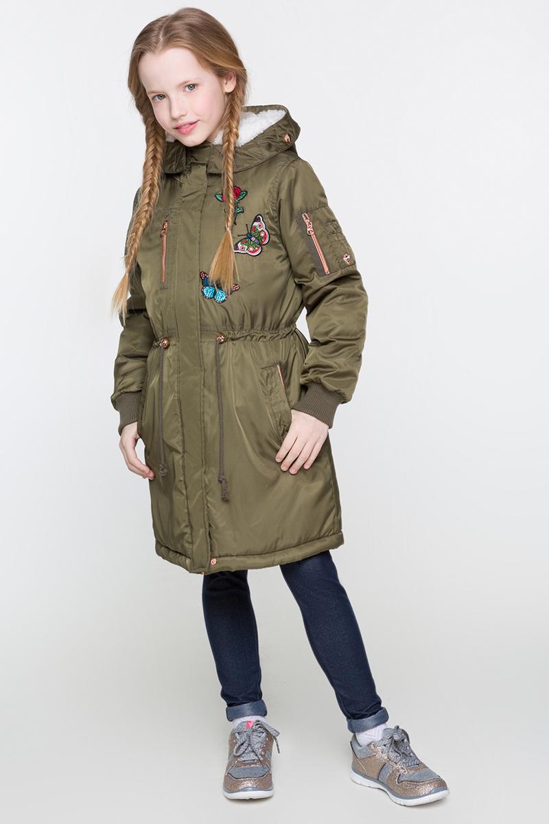 Пальто для девочек Acoola Tipsy, цвет: хаки. 20210610020. Размер 15820210610020