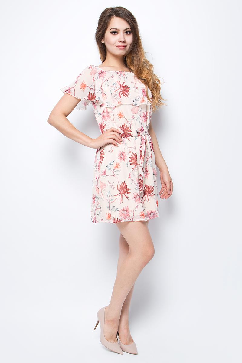Платье женское Only, цвет: розовый. 15135344_Pink Tint. Размер 42 (48)15135344_Pink TintЯркое летнее платье Only выполнено из полиэстера. Талия подчеркнута легким пояском. Отличный вариант на каждый день.