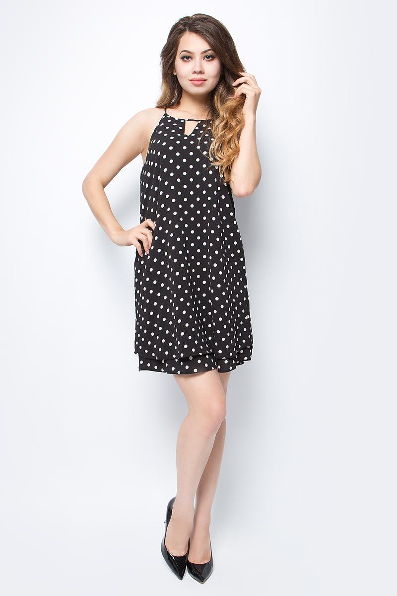 Платье женское Only, цвет: черный. 15135279_Black. Размер 34 (40)15135279_BlackПлатье женское Only из легкого трикотажа без рукавов свободного кроя послужит идеальным дополнением к Вашему гардеробу. Изделие застегивается на пуговицу.
