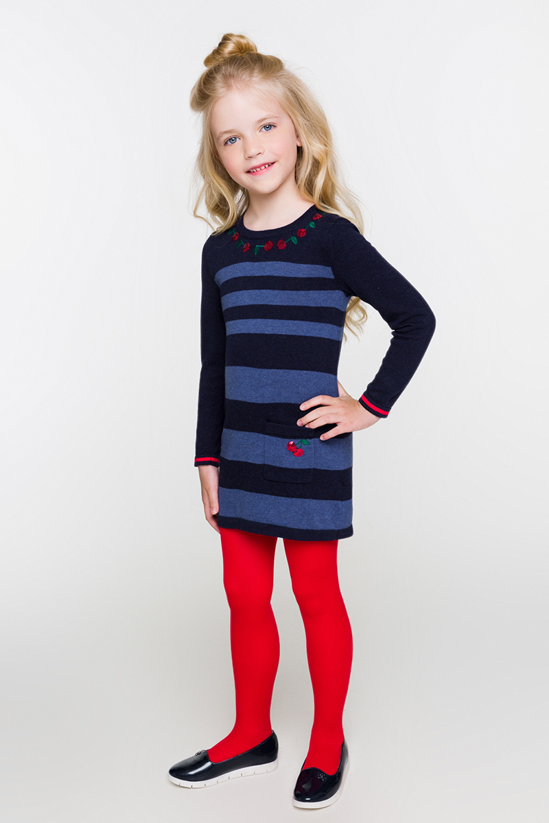 Платье для девочки Acoola Swindon, цвет: синий. 20220200189. Размер 9820220200189Платье от Acoola выполнено из эластичного вязаного трикотажа в полоску, декорировано яркой вышивкой из пайеток. Модель с круглым вырезом горловины, длинными рукавами и одним накладным карманом.