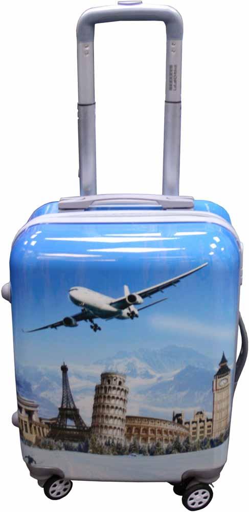 Чемодан Proffi Самолет, цвет: голубой, 45 лPH8647Стильный пластиковый чемодан Proffi прекрасно подойдет для путешествий и поездок. Выполнен из поликарбоната. Внутри имеется 2 отделения. Закрывается чемодан на молнию и кодовый замок. Для удобства транспортировки имеется выдвижная ручка, а также боковая ручка. На боковой стороне имеются пластиковые ножки.Размер: 36 х 26 х 56 см. Вес: 3,6 кг.Объем: 45 литров.