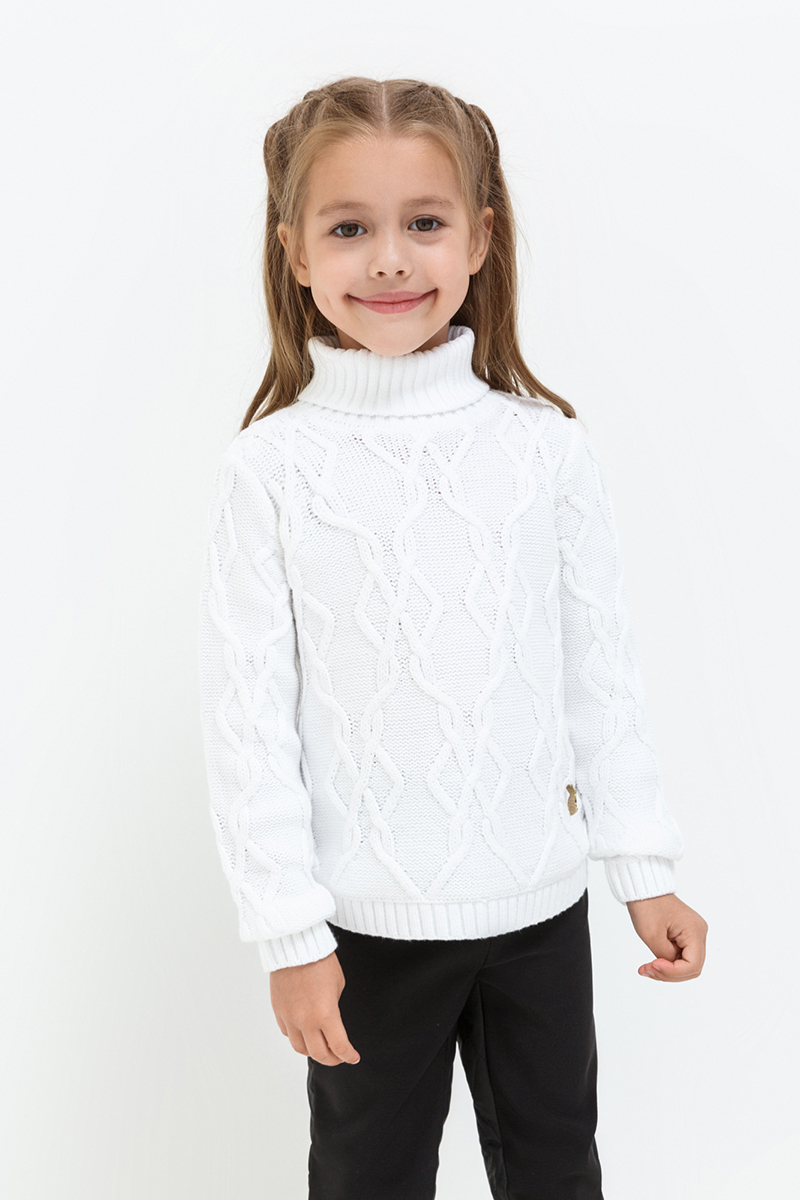 Свитер для девочек Acoola Backer, цвет: белый. 20220320021. Размер 10420220320021