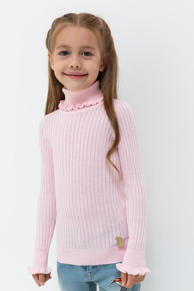 Свитер для девочки Acoola Garisson, цвет: светло-розовый. 20220320019. Размер 10420220320019/20210320021Свитер от Acoola из эластичного трикотажа в рубчик выполнен из мягкой пряжи с добавлением шерсти. Модель облегающего силуэта с воротником-гольф и длинными рукавами декорирована оборками и небольшой металлически подвеской в виде зайца.