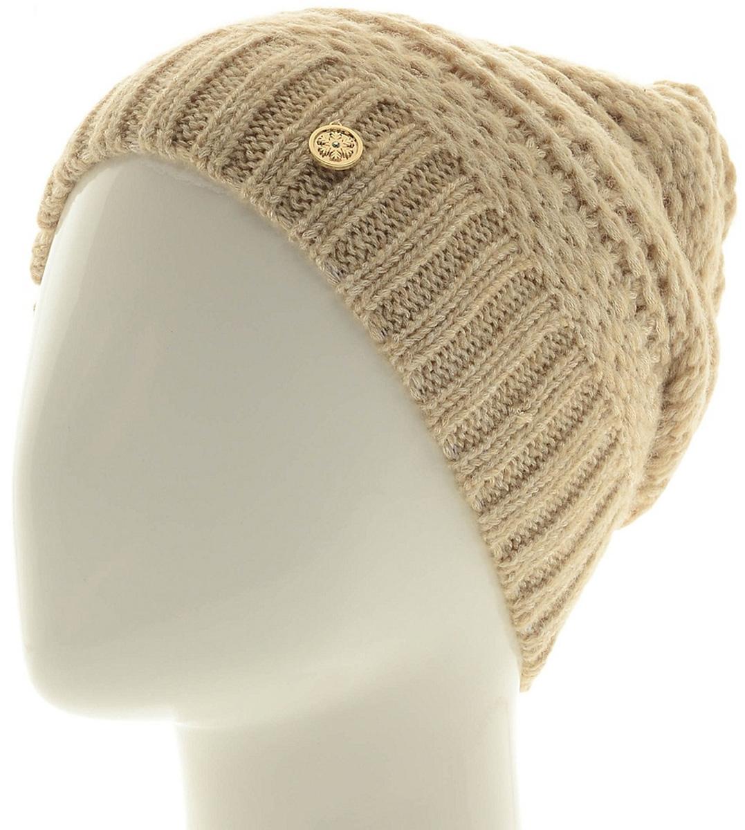 Шапка женская Marhatter, цвет: светло-бежевый. Размер 56/58. MWH6756/2MWH6756/2Теплая шапка из высококачественной пряжи. Практичный и стильный вариант, который идеально дополнит ваш современный образ. Изделие оформлено оригинальным узором.