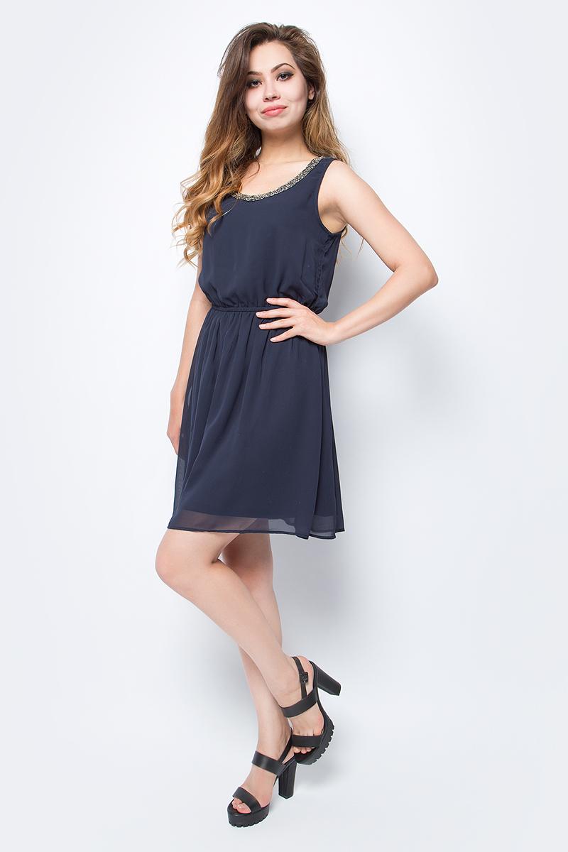 Платье женское Only, цвет: синий. 15135571_Night Sky. Размер 40 (46)15135571_Night SkyСтильное платье Only, выполненное из высококачественного материала, прекрасный вариант для модных женщин, желающих подчеркнуть свою индивидуальность и хороший вкус. Модель без рукавов, с круглым вырезом горловины, застегивается на молнию сбоку. Платье приталенное на резинке, оно предаст еще более привлекательный силуэт своей владелице. Красивое и необычное платье сделает вас неотразимой и потрясающей.