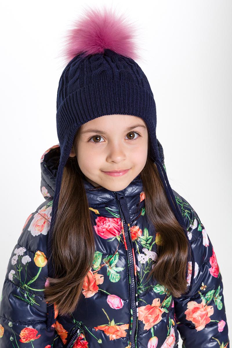 Шапка для девочки Acoola Alle, цвет: темно-синий. 20226400022. Размер XS (50)20226400022Детская шапка от Acoola выполнена из натуральной акриловой пряжи и декорирована меховым помпоном. Такая шапка согреет вашего ребенка в холодное время года.