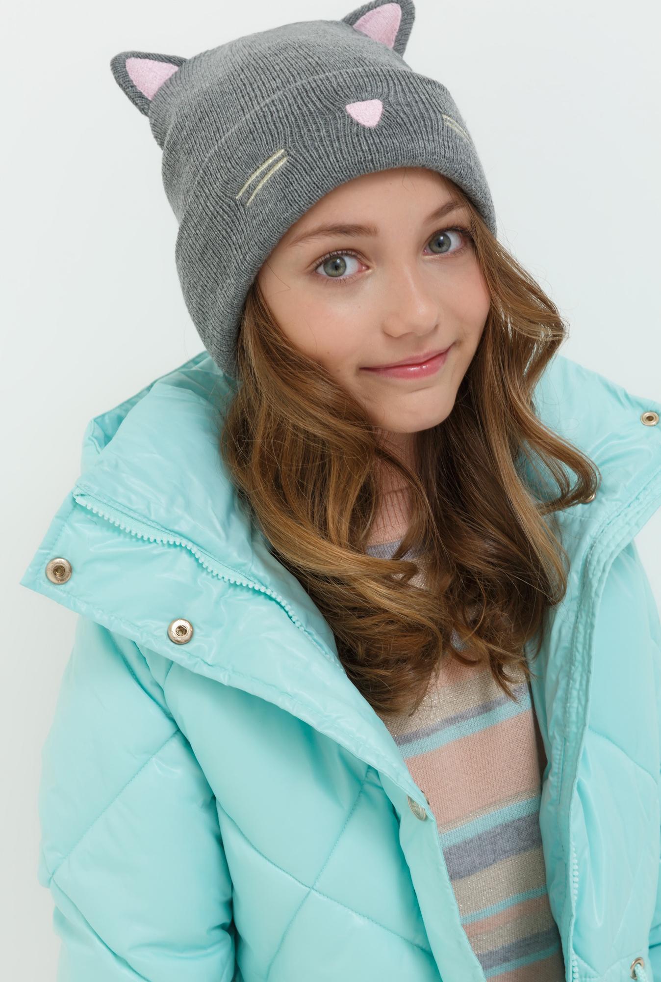 Шапка для девочки Acoola Damo, цвет: серый. 20236400039. Размер XS (50)20236400039Детская шапка от Acoola выполнена из натуральной акриловой пряжи и декорирована ушами. Такая шапка согреет вашего ребенка в холодное время года.