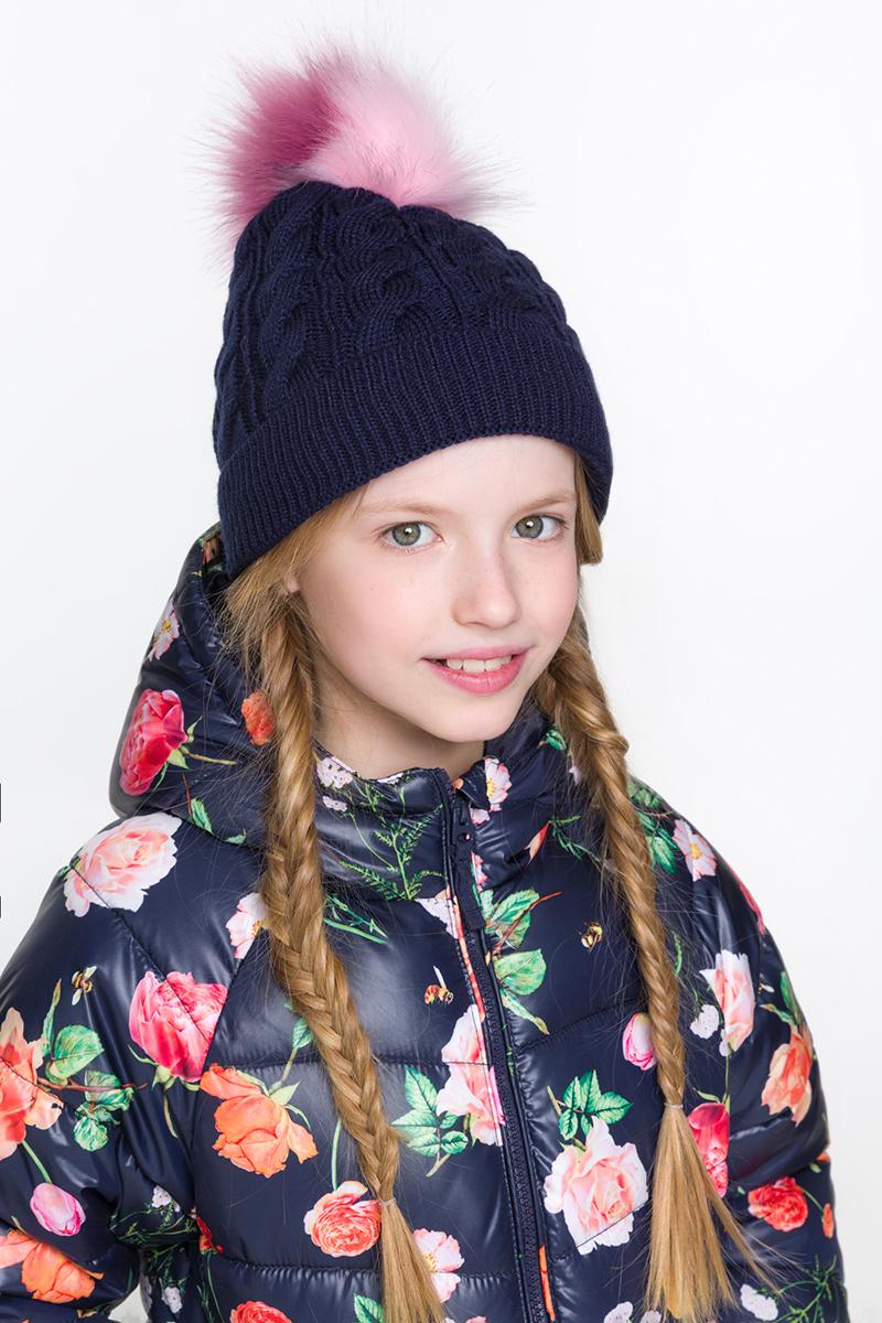 Шапка для девочки Acoola Luna, цвет: темно-синий. 20216400017. Размер M (52)20216400017Детская шапка от Acoola выполнена из натуральной акриловой пряжи и декорирована меховым помпоном. Такая шапка согреет вашего ребенка в холодное время года.