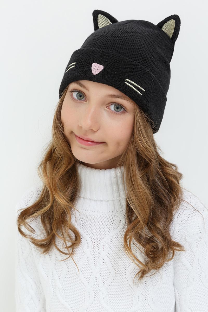Шапка для девочек Acoola Melody, цвет: черный. 20236400040. Размер XS (50)20236400040